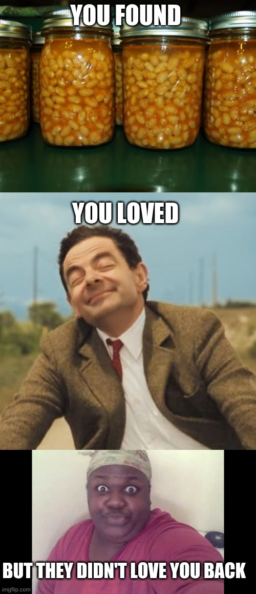 YOU FOUND; YOU LOVED; BUT THEY DIDN'T LOVE YOU BACK | image tagged in pork and beans,mr bean happy face,sitting on the toilet | made w/ Imgflip meme maker