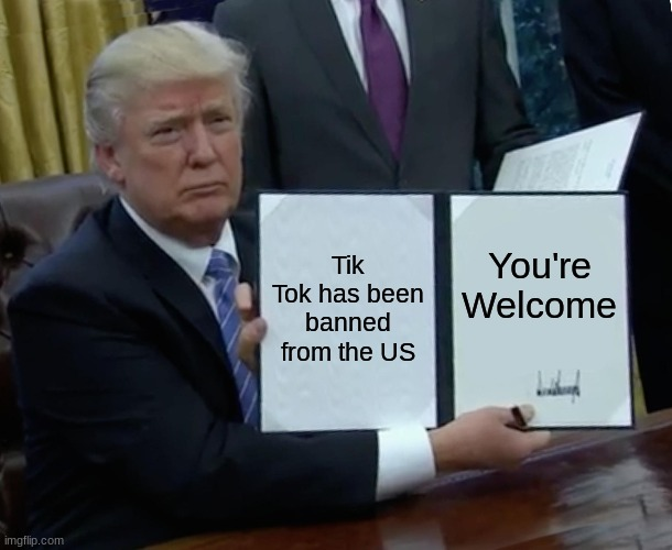 Trump Bill Signing Meme |  Tik Tok has been banned from the US; You're Welcome | image tagged in memes,trump bill signing | made w/ Imgflip meme maker