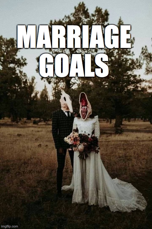 MARRIAGE GOALS | image tagged in marriage,goals,beetlejuice | made w/ Imgflip meme maker