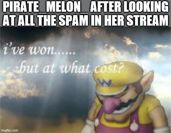 is thiis over the top? nah |  PIRATE_MELON_ AFTER LOOKING AT ALL THE SPAM IN HER STREAM | image tagged in i've won but at what cost,who reads these,i'm so don't try it | made w/ Imgflip meme maker