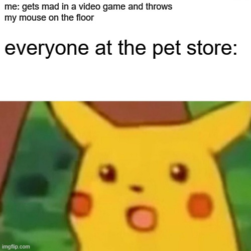 Surprised Pikachu Meme |  me: gets mad in a video game and throws my mouse on the floor; everyone at the pet store: | image tagged in memes,surprised pikachu | made w/ Imgflip meme maker