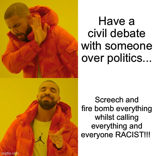 Drake Hotline Bling Meme |  Have a civil debate with someone over politics... Screech and fire bomb everything whilst calling everything and everyone RACIST!!! | image tagged in memes,drake hotline bling | made w/ Imgflip meme maker