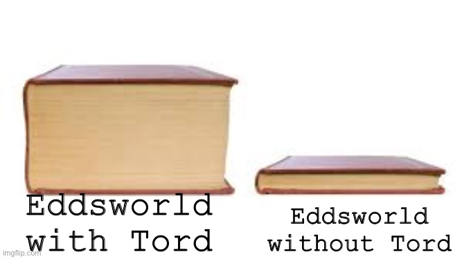 Tord |  Eddsworld with Tord; Eddsworld without Tord | image tagged in big book small book,eddsworld | made w/ Imgflip meme maker