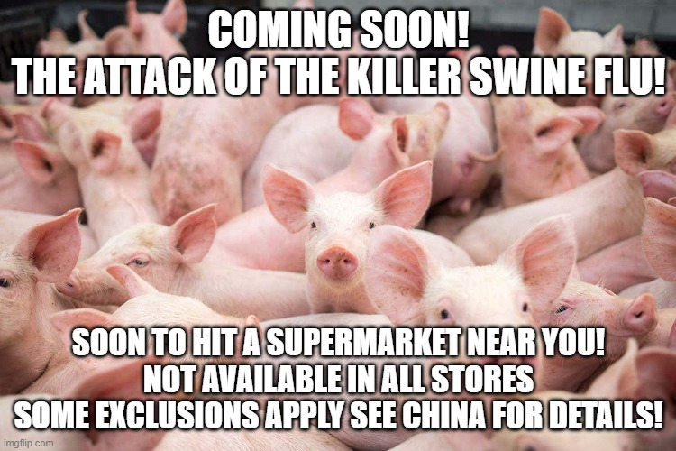 china swine flu |  COMING SOON! THE ATTACK OF THE KILLER SWINE FLU! SOON TO HIT A SUPERMARKET NEAR YOU! NOT AVAILABLE IN ALL STORES SOME EXCLUSIONS APPLY SEE CHINA FOR DETAILS! | image tagged in swine flu,china,virus,imgflip,memes,funny | made w/ Imgflip meme maker