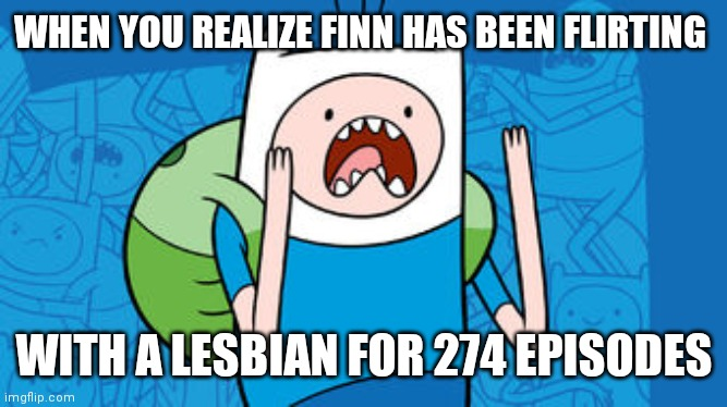 Adventure Time |  WHEN YOU REALIZE FINN HAS BEEN FLIRTING; WITH A LESBIAN FOR 274 EPISODES | image tagged in memes,adventure time,finn the human,funny | made w/ Imgflip meme maker