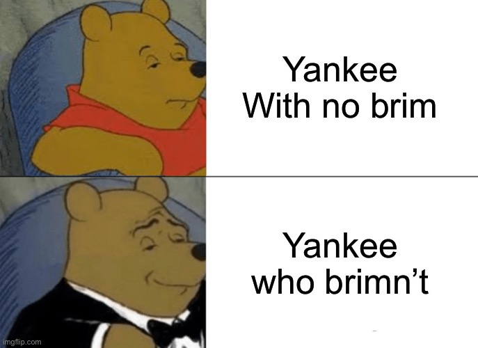 Tuxedo Winnie The Pooh Meme |  Yankee With no brim; Yankee who brimn't | image tagged in memes,tuxedo winnie the pooh | made w/ Imgflip meme maker
