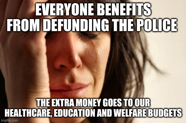 EVERYONE BENEFITS FROM DEFUNDING THE POLICE THE EXTRA MONEY GOES TO OUR HEALTHCARE, EDUCATION AND WELFARE BUDGETS | image tagged in memes,first world problems | made w/ Imgflip meme maker