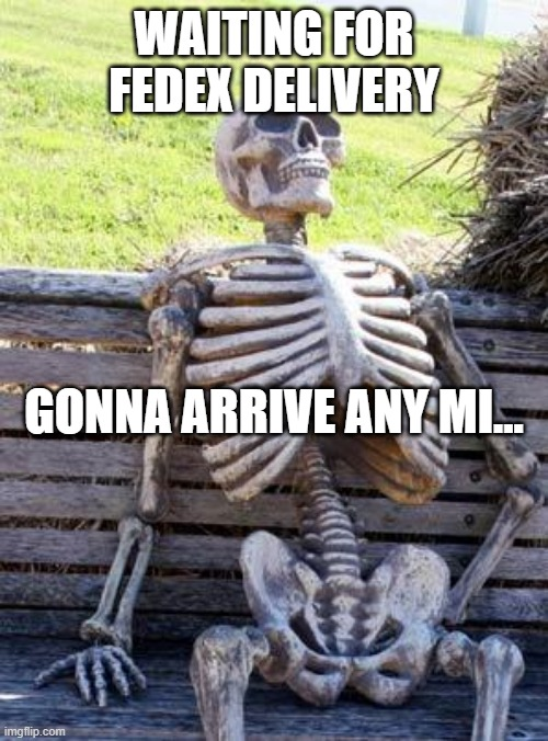 Waiting for FedEx delivery - Gonna arrive any mi... |  WAITING FOR FEDEX DELIVERY; GONNA ARRIVE ANY MI... | image tagged in memes,waiting skeleton,fedex,delivery,service,customers | made w/ Imgflip meme maker