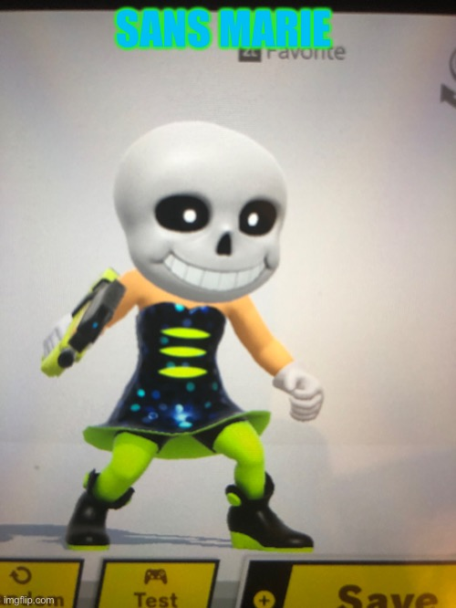 I'm having instant regret about this |  SANS MARIE | image tagged in sans,marie,smash bros,mii fighter,memes,cursed image | made w/ Imgflip meme maker