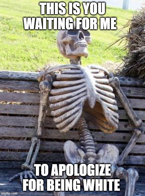 waiting |  THIS IS YOU WAITING FOR ME; TO APOLOGIZE FOR BEING WHITE | image tagged in memes,waiting skeleton | made w/ Imgflip meme maker