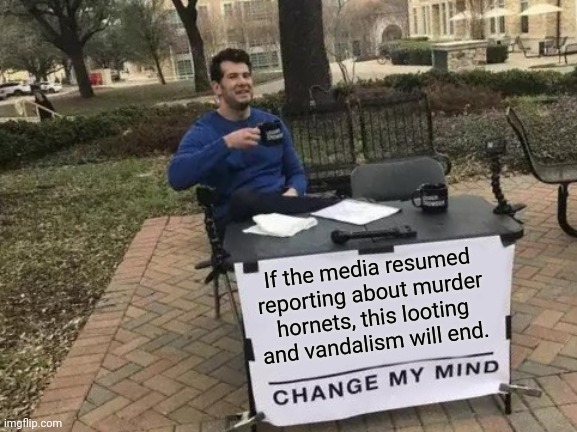 bring back the murder hornet's! |  If the media resumed reporting about murder hornets, this looting and vandalism will end. | image tagged in memes,change my mind,letsgetwordy,murder hornet,riots | made w/ Imgflip meme maker