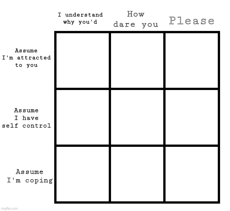 Disaster alignment chart |  How dare you; Please; I understand why you'd; Assume I'm attracted to you; Assume I have self control; Assume I'm coping | image tagged in how dare you,please,alignment chart,personality chart | made w/ Imgflip meme maker