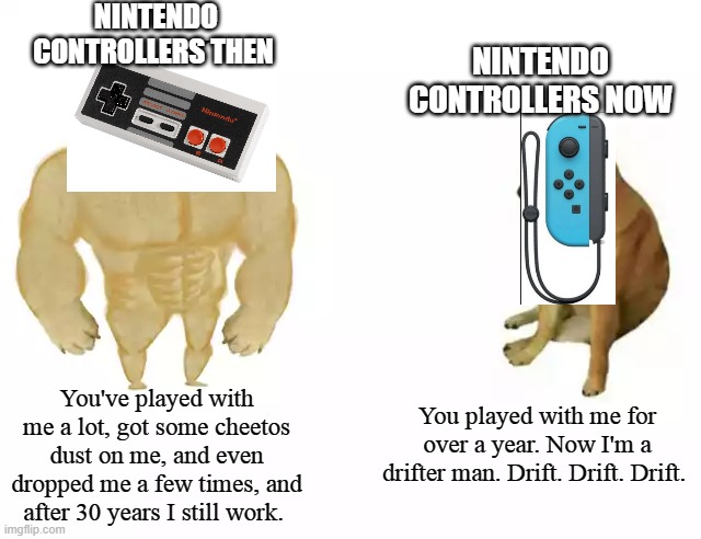 Nintendo controllers then vs. Nintendo controllers now.