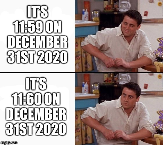 Eternal suffering |  IT'S 11:59 ON DECEMBER 31ST 2020; IT'S 11:60 ON DECEMBER 31ST 2020 | image tagged in comprehending joey,2020,nightmare,new years,2021,11 60 | made w/ Imgflip meme maker