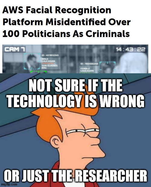 NOT SURE IF THE TECHNOLOGY IS WRONG; OR JUST THE RESEARCHER | image tagged in memes,futurama fry | made w/ Imgflip meme maker