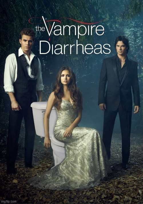 image tagged in the vampire diaries,vampires,diarrhea,tv show,toilet,vampire | made w/ Imgflip meme maker
