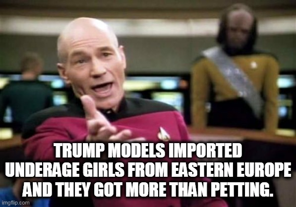 TRUMP MODELS IMPORTED UNDERAGE GIRLS FROM EASTERN EUROPE AND THEY GOT MORE THAN PETTING. | image tagged in memes,picard wtf | made w/ Imgflip meme maker