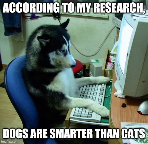 So true |  ACCORDING TO MY RESEARCH, DOGS ARE SMARTER THAN CATS | image tagged in memes,i have no idea what i am doing | made w/ Imgflip meme maker