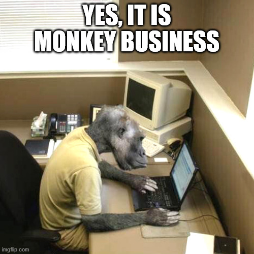 Monkey Business Meme | YES, IT IS MONKEY BUSINESS | image tagged in memes,monkey business | made w/ Imgflip meme maker