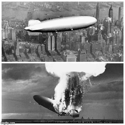 Blimp Explosion | image tagged in blimp explosion | made w/ Imgflip meme maker