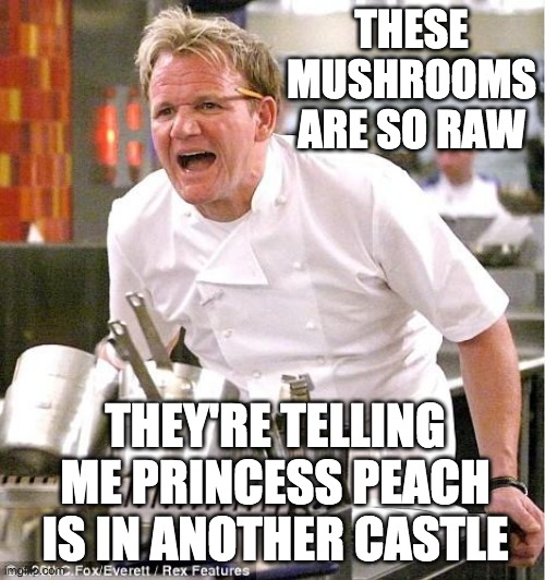 Feels good to be back on the fun stream |  THESE MUSHROOMS ARE SO RAW; THEY'RE TELLING ME PRINCESS PEACH IS IN ANOTHER CASTLE | image tagged in memes,chef gordon ramsay,funny,mushrooms,mario,princess peach | made w/ Imgflip meme maker