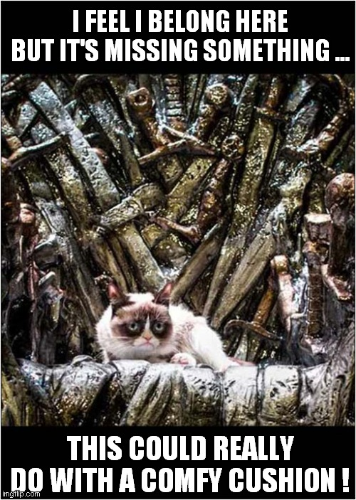 Grumpy On The Iron Throne |  I FEEL I BELONG HERE BUT IT'S MISSING SOMETHING ... THIS COULD REALLY DO WITH A COMFY CUSHION ! | image tagged in fun,grumpy cat,iron throne,game of thrones | made w/ Imgflip meme maker