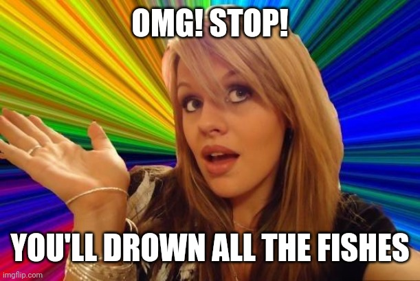Dumb Blonde Meme | OMG! STOP! YOU'LL DROWN ALL THE FISHES | image tagged in memes,dumb blonde | made w/ Imgflip meme maker