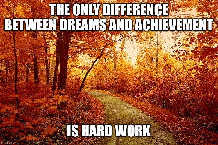 THE ONLY DIFFERENCE BETWEEN DREAMS AND ACHIEVEMENT; IS HARD WORK | image tagged in memes,motivational | made w/ Imgflip meme maker