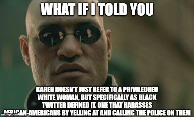 Matrix Morpheus on Karen |  WHAT IF I TOLD YOU; KAREN DOESN'T JUST REFER TO A PRIVILEDGED WHITE WOMAN, BUT SPECIFICALLY AS BLACK TWITTER DEFINED IT, ONE THAT HARASSES AFRICAN-AMERICANS BY YELLING AT AND CALLING THE POLICE ON THEM | image tagged in memes,matrix morpheus,funny memes,karen,truth | made w/ Imgflip meme maker