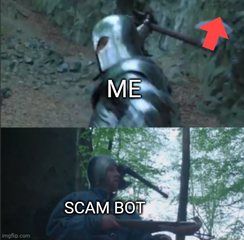 Axe to the Head |  ME; SCAM BOT | image tagged in axe to the head,bots,downvote | made w/ Imgflip meme maker