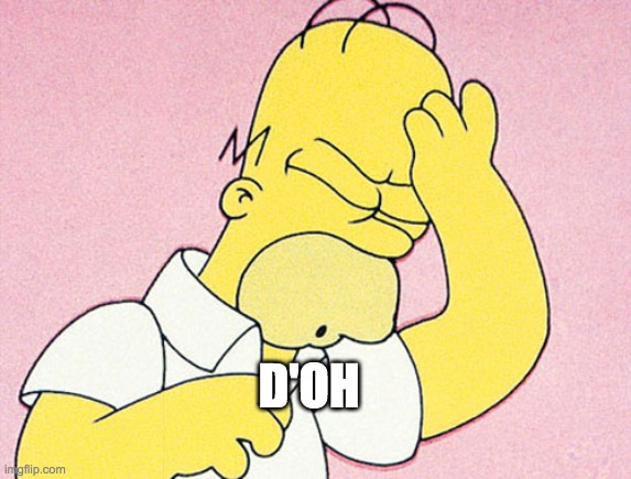 D'OH | image tagged in homer simpson d'oh | made w/ Imgflip meme maker