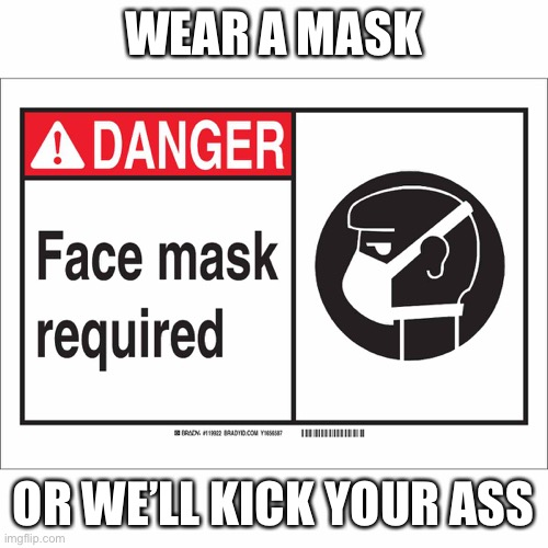 Wear a mask |  WEAR A MASK; OR WE'LL KICK YOUR ASS | image tagged in mask,covid-19,covid19,donald trump,trump,republicans | made w/ Imgflip meme maker