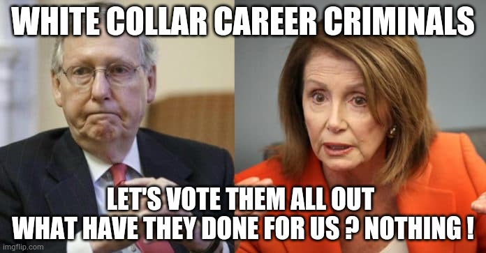 McConnell Pelosi |  WHITE COLLAR CAREER CRIMINALS; LET'S VOTE THEM ALL OUT  WHAT HAVE THEY DONE FOR US ? NOTHING ! | image tagged in mcconnell pelosi,vote2020,mitch mcconnell,pelosi,trump,biden | made w/ Imgflip meme maker