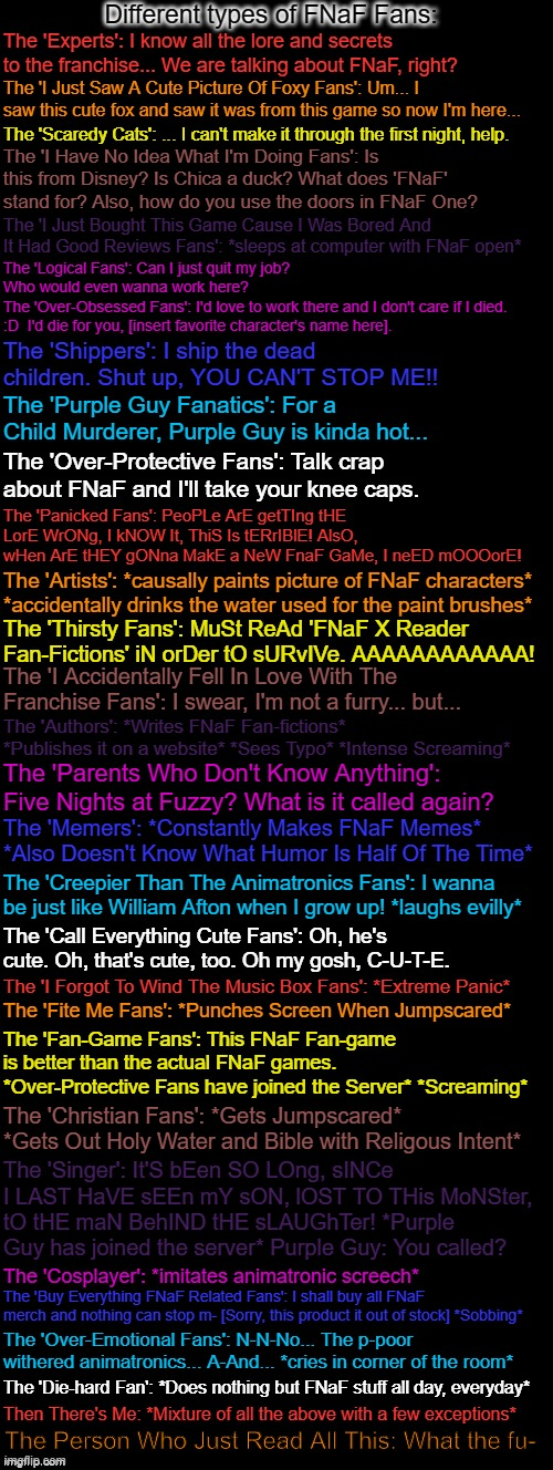 This took a lot of time to make, so I hope you all like it. If you wanna point out what type of fan you are, feel free to say in |  Different types of FNaF Fans:; The 'Experts': I know all the lore and secrets to the franchise... We are talking about FNaF, right? The 'I Just Saw A Cute Picture Of Foxy Fans': Um... I saw this cute fox and saw it was from this game so now I'm here... The 'Scaredy Cats': ... I can't make it through the first night, help. The 'I Have No Idea What I'm Doing Fans': Is this from Disney? Is Chica a duck? What does 'FNaF' stand for? Also, how do you use the doors in FNaF One? The 'I Just Bought This Game Cause I Was Bored And It Had Good Reviews Fans': *sleeps at computer with FNaF open*; The 'Logical Fans': Can I just quit my job? Who would even wanna work here? The 'Over-Obsessed Fans': I'd love to work there and I don't care if I died. :D  I'd die for you, [insert favorite character's name here]. The 'Shippers': I ship the dead children. Shut up, YOU CAN'T STOP ME!! The 'Purple Guy Fanatics': For a Child Murderer, Purple Guy is kinda hot... The 'Over-Protective Fans': Talk crap about FNaF and I'll take your knee caps. The 'Panicked Fans': PeoPLe ArE getTIng tHE LorE WrONg, I kNOW It, ThiS Is tERrIBlE! AlsO, wHen ArE tHEY gONna MakE a NeW FnaF GaMe, I neED mOOOorE! The 'Artists': *causally paints picture of FNaF characters* *accidentally drinks the water used for the paint brushes*; The 'Thirsty Fans': MuSt ReAd 'FNaF X Reader Fan-Fictions' iN orDer tO sURvIVe. AAAAAAAAAAAA! The 'I Accidentally Fell In Love With The Franchise Fans': I swear, I'm not a furry... but... The 'Authors': *Writes FNaF Fan-fictions* *Publishes it on a website* *Sees Typo* *Intense Screaming*; The 'Parents Who Don't Know Anything': Five Nights at Fuzzy? What is it called again? The 'Memers': *Constantly Makes FNaF Memes* *Also Doesn't Know What Humor Is Half Of The Time*; The 'Creepier Than The Animatronics Fans': I wanna be just like William Afton when I grow up! *laughs evilly*; The 'Call Everything Cute Fans': Oh, he's cute. Oh, that's cute, too. Oh my gosh, C-U-T-E. The 'I Forgot To Wind The Music Box Fans': *Extreme Panic*; The 'Fite Me Fans': *Punches Screen When Jumpscared*; The 'Fan-Game Fans': This FNaF Fan-game is better than the actual FNaF games. *Over-Protective Fans have joined the Server* *Screaming*; The 'Christian Fans': *Gets Jumpscared* *Gets Out Holy Water and Bible with Religious Intent*; The 'Singer': It'S bEen SO LOng, sINCe I LAST HaVE sEEn mY sON, lOST TO THis MoNSter, tO tHE maN BehIND tHE sLAUGhTer! *Purple Guy has joined the server* Purple Guy: You called? The 'Cosplayer': *imitates animatronic screech*; The 'Buy Everything FNaF Related Fans': I shall buy all FNaF merch and nothing can stop m- [Sorry, this product it out of stock] *Sobbing*; The 'Over-Emotional Fans': N-N-No... The p-poor withered animatronics... A-And... *cries in corner of the room*; The 'Die-hard Fan': *Does nothing but FNaF stuff all day, everyday*; Then There's Me: *Mixture of all the above with a few exceptions*; The Person Who Just Read All This: What the fu- | image tagged in double long black template,fnaf,five nights at freddys,fans,five nights at freddy's | made w/ Imgflip meme maker