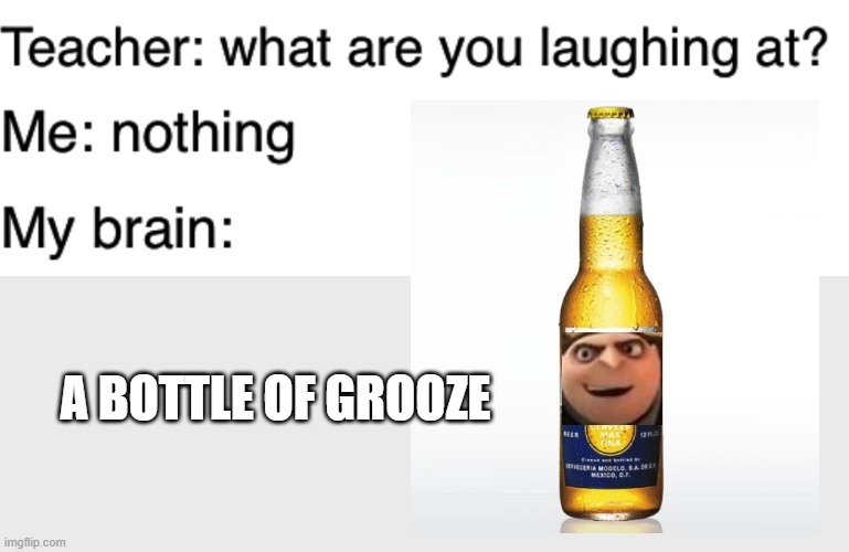 The Grooze Line commences |  A BOTTLE OF GROOZE | image tagged in teacher what are you laughing at,booze,beer,despicable me,funny,memes | made w/ Imgflip meme maker