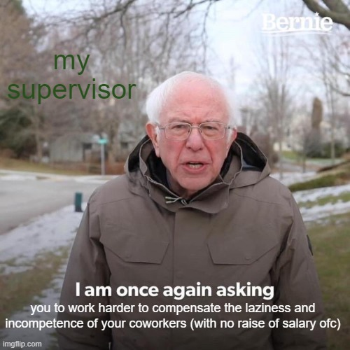 But you are the best |  my supervisor; you to work harder to compensate the laziness and incompetence of your coworkers (with no raise of salary ofc) | image tagged in bernie i am once again asking for your support,work sucks,lazy,coworkers | made w/ Imgflip meme maker
