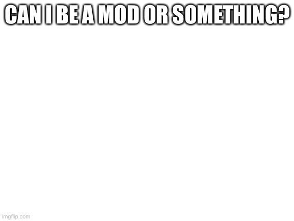 I love this concept |  CAN I BE A MOD OR SOMETHING? | image tagged in blank white template | made w/ Imgflip meme maker