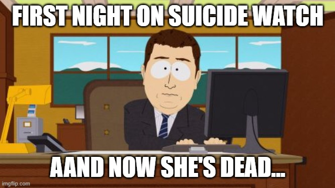 epstein |  FIRST NIGHT ON SUICIDE WATCH; AAND NOW SHE'S DEAD... | image tagged in memes,aaaaand its gone | made w/ Imgflip meme maker