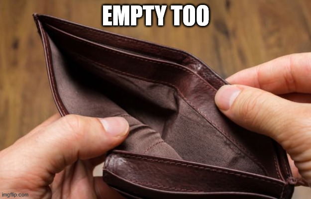 empty wallet | EMPTY TOO | image tagged in empty wallet | made w/ Imgflip meme maker