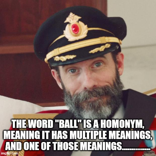 "Captain Obvious | THE WORD ""BALL"" IS A HOMONYM, MEANING IT HAS MULTIPLE MEANINGS, AND ONE OF THOSE MEANINGS............... 