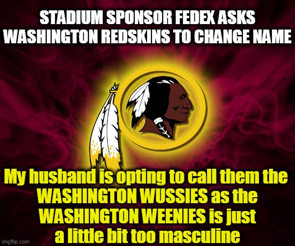 Keep Your Promise, Dan Snyder--No Name Change! |  STADIUM SPONSOR FEDEX ASKS WASHINGTON REDSKINS TO CHANGE NAME; My husband is opting to call them the   WASHINGTON WUSSIES as the WASHINGTON WEENIES is just a little bit too masculine | image tagged in politics,political meme,sports,nwo,men,boys | made w/ Imgflip meme maker