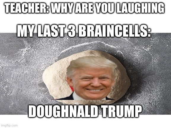 Doughnald trump |  TEACHER: WHY ARE YOU LAUGHING; MY LAST 3 BRAINCELLS:; DOUGHNALD TRUMP | image tagged in dough,donald trump | made w/ Imgflip meme maker