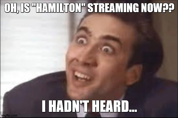 "OH, IS ""HAMILTON"" STREAMING NOW?? I HADN'T HEARD... 