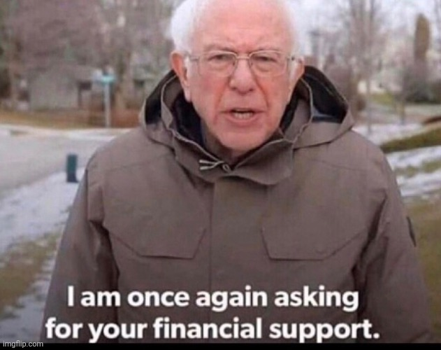 bernie sanders financial support | image tagged in bernie sanders financial support | made w/ Imgflip meme maker