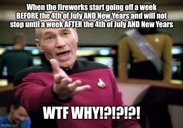 SERIOUSLY!?!?!?!?!?!?!? WHY!?!?!?!?!?!? |  When the fireworks start going off a week BEFORE the 4th of July AND New Years and will not stop until a week AFTER the 4th of July AND New Years; WTF WHY!?!?!?! | image tagged in memes,picard wtf,fireworks,4th of july,new years,noise pollution | made w/ Imgflip meme maker
