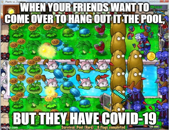 Protect yourself in pvz way |  WHEN YOUR FRIENDS WANT TO COME OVER TO HANG OUT IT THE POOL, BUT THEY HAVE COVID-19 | image tagged in covid-19,friends,plants vs zombies | made w/ Imgflip meme maker