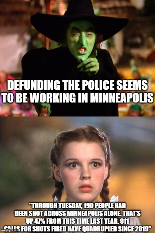 "My half baked theory is MELTING!!!!! |  DEFUNDING THE POLICE SEEMS TO BE WORKING IN MINNEAPOLIS; ""THROUGH TUESDAY, 190 PEOPLE HAD BEEN SHOT ACROSS MINNEAPOLIS ALONE. THAT'S UP 47% FROM THIS TIME LAST YEAR. 911 CALLS FOR SHOTS FIRED HAVE QUADRUPLED SINCE 2019"" 