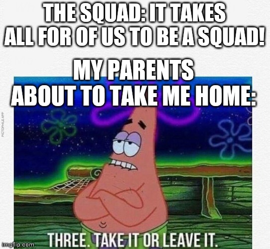 3 take it or leave it | THE SQUAD: IT TAKES ALL FOR OF US TO BE A SQUAD! MY PARENTS ABOUT TO TAKE ME HOME: | image tagged in 3 take it or leave it | made w/ Imgflip meme maker