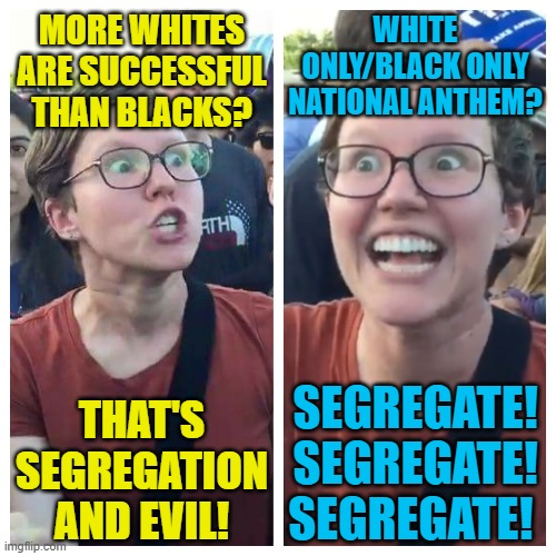 MORE WHITES ARE SUCCESSFUL THAN BLACKS? THAT'S SEGREGATION AND EVIL! WHITE ONLY/BLACK ONLY NATIONAL ANTHEM? SEGREGATE! SEGREGATE! SEGREGATE! | image tagged in triggered hypocrite feminist | made w/ Imgflip meme maker