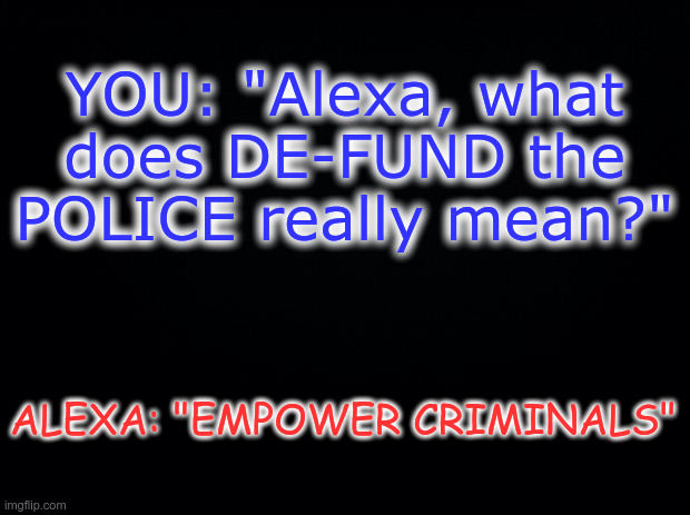 "DE-FUND DEFINITION |  YOU: ""Alexa, what does DE-FUND the POLICE really mean?""; ALEXA: ""EMPOWER CRIMINALS"" 